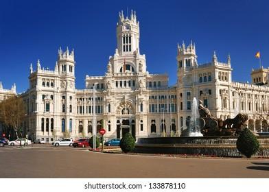The post office building in Plaza de Cibeles Square in Madrid Spain