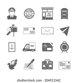 Post service icon black set with logistics shipping and packaging elements isolated  illustration