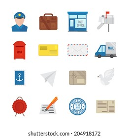 Post service icon flat set with delivery courier envelope and parcel packages isolated  illustration