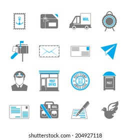 Post service icon set of shipping delivery packaging isolated  illustration