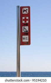 Post signs at the beach, main services