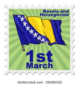 post stamp of national day of Bosnia and Herzegovina