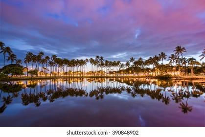 Post sunset from Ala Moana Beach Park west of Waikiki, Oahu, Hawaii.