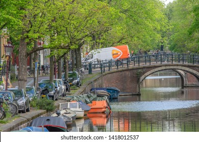 Post.nl Van On The Reguliersgracht At Amsterdam The Netherlands 2019