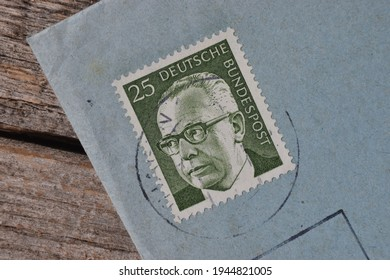Postage stamp with the image of the German President Gustav Heinemann on a blue envelope