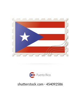 Postage stamp with the image of Puerto Rico flag. Raster copy.