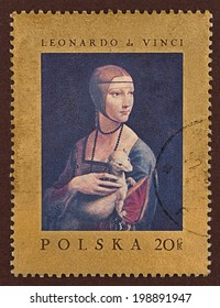 "Postage stamp, a painting by Leonardo da Vinci, under the title ""Lady with an Ermine"""