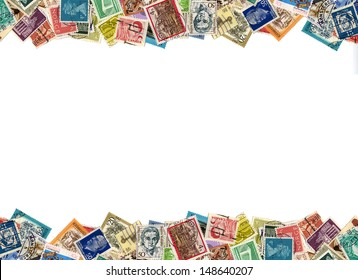 Postage stamps from many different countries, copy space