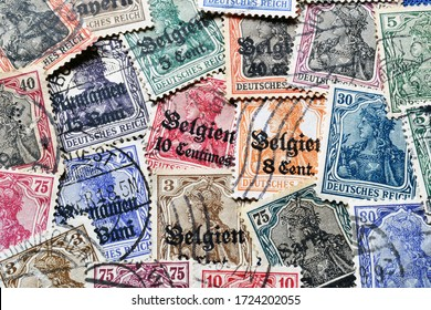 Postage stamps printed by Germany, between 1900-1945, that show portrait of Germania, circa 1900-1945.