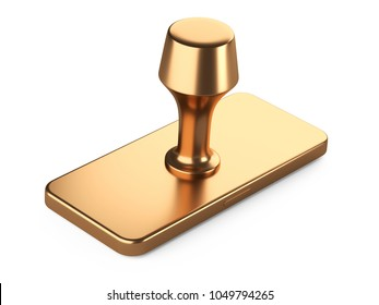 Postal golden rubber seal stamp. 3d illustration isolated over a white.
