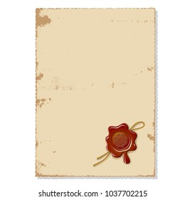 Postal  letter, blank sheet of paper, wax seal with rope isolated on white background raster illustration