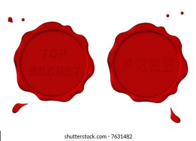 """Postal red seal with label """"TOP SECRET"""" and one with label """"FREE""""."""