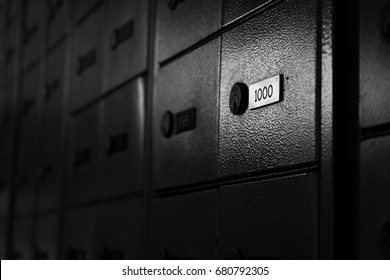 Postal safe deposit box with number one thousand highlighted. Secret mail, confidential concepts