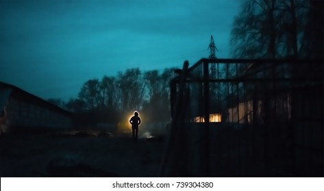 Post-Apocalypse scene shows silhouette of survivor who stays alone in abandoned city after world war