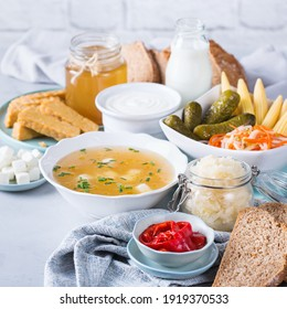 Postbiotics - metabolites and cell-wall components from probiotics, functional food. Tempeh, kombucha, sauerkraut, pickles, kefir, yogurt, miso soup, soft cheese, sourdough bread
