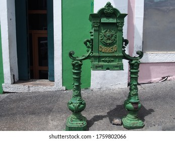 """A postbox with the Portuguese word """"Post Office"""" written on it, Portugal"""