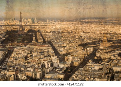 Postcard with the aerial view of the city Paris in vintage look