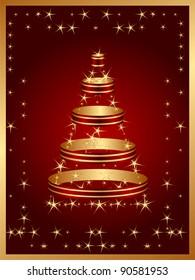 postcard with christmas tree on merry christmas day
