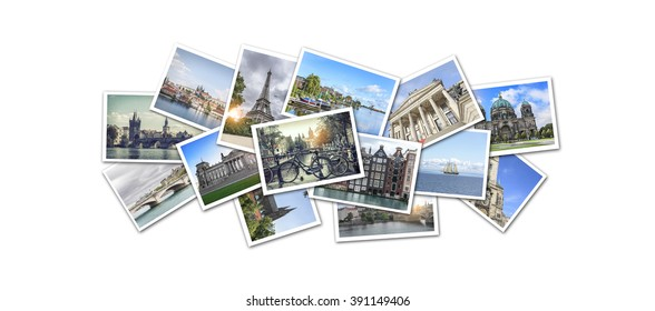 Postcard collage from Europe. Prague, Amsterdam, Paris, Berlin. The main attractions.