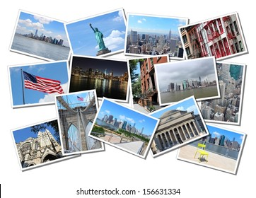 Postcard collage from New York City, USA. Collage includes major landmarks like Brooklyn Bridge, Statue of Liberty, Manhattan skyline and Columbia University.