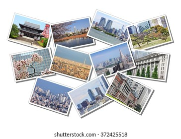 Postcard collage from Tokyo, capital city of Japan. Collage includes major landmarks, temples, Tokyo cityscape and skyline.