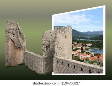 postcard design for Ston, Peljesac, Croatia