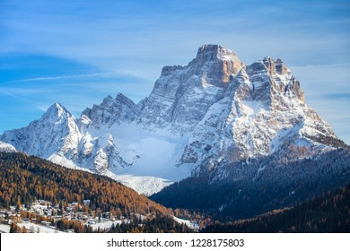 A postcard from Dolomites, Monte Pelmo in the winter season from Colle Santa Lucia, Veneto Italy