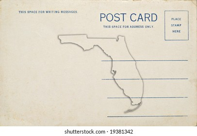 A postcard with a Florida map outline. Dirt and scratches at 100%.