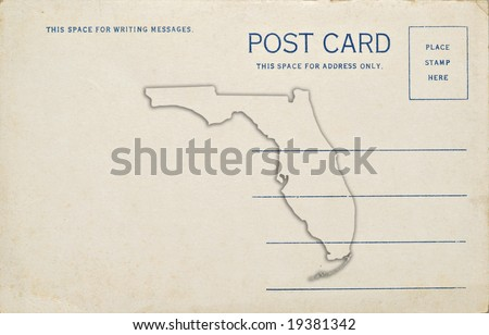 Florida Map Outline.Postcard Florida Map Outline Dirt Scratches Stock Photo Edit Now