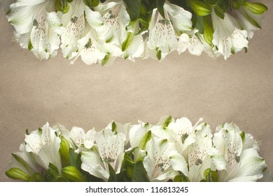 postcard with flowers Easter lilies and space for your text