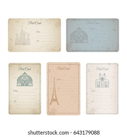 Postcard grunge vintage card collection. illustration