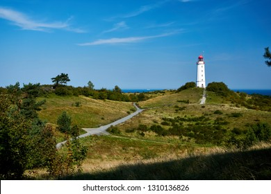 postcard lighthouse on isle of Hiddensee in summer