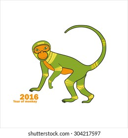 Postcard of monkey, New Year. Christmas card with monkey