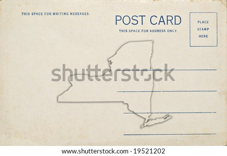 Postcard New York Map Outline Dirt Stock Photo Edit Now 19521202