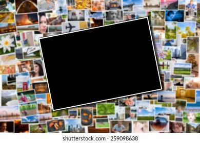 Postcard or photo template with a blurred background of photos and postcards with several destinations from all over the world