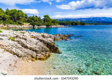 Postcard picture of dalmatian sea from kampor, summer travel beach.