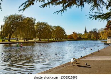 Postcard scene of the canal in Stratford Upon Avon in England. Home of William Shakespear.