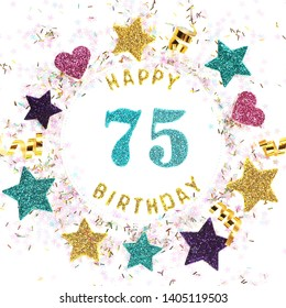 "Postcard square format with the inscription ""happy 75th birthday"", stars, glitter, serpentine."