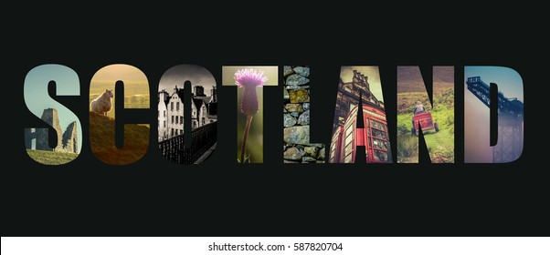 Postcard Style Design For Scotland With Images Of Nature And City
