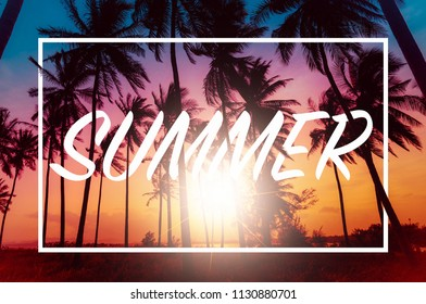 Postcard Summer. Silhouette coconut palm trees on beach at sunset. Vintage tone.
