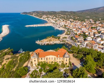 Postcard from Thassos. Aerial view of Limenaria Castle, now abandoned and Limenaria town and port