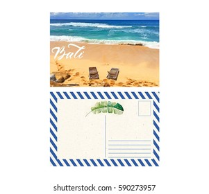 postcard from travel with back, bali, indonesia