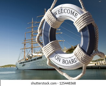 postcard of view on the sailing ship thrue blue safe belt with welcome on board sign