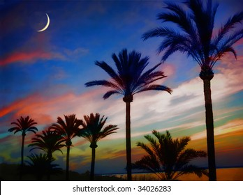 Postcard View: Tropical island sunset with crescent moon using over-the-top 1940's style color. A soft postcard cliche with a cool breeze. (photo composite)