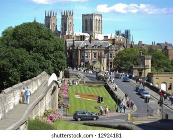Postcard view of York City with Minster in background