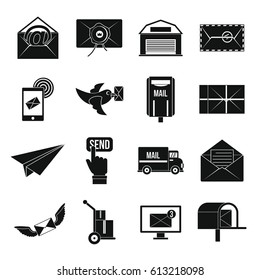 Poste service icons set. Simple illustration of 16 poste service  icons for web