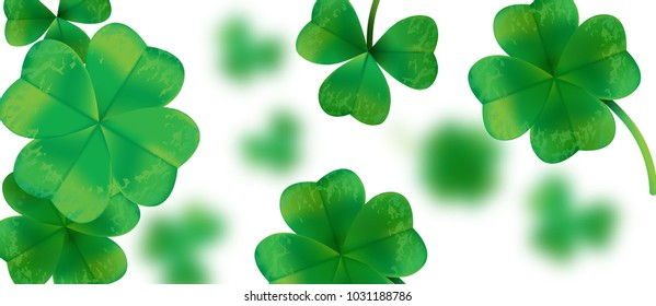 Poster, card, banner template for Happy Saint Patricks Day greeting lettering on clovers leaf background.