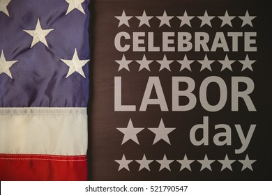Poster of celebrate labor day text against white background with vignette