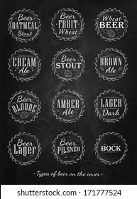 Poster collection of beer types caps in  vintage style drawing with chalk on blackboard.