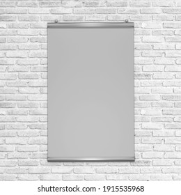 Poster display with white brick wall texture background, brick wall texture for interior or exterior design backdrop.